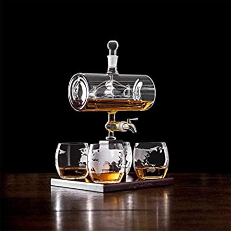 Juego de botellas de vidrio de borosilicato alto, con 4 vasos y estante de madera, botella de whisky botella vacía transparente botella de vino de burbujas