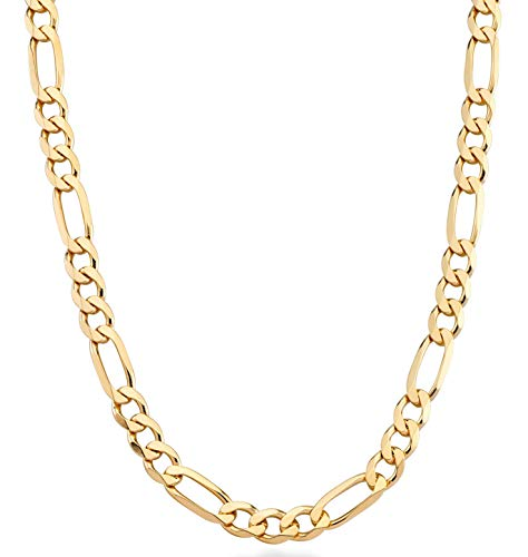 MiaBella 18K Gold Over Sterling Silver Italian 7mm Solid Diamond-Cut Figaro Link Chain Necklace for Men, 20
