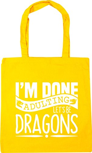 10 Adulting Yellow 42cm Shopping Gym x38cm HippoWarehouse Let's Be Beach Bag litres Dragons Tote I'm Done ExqpO