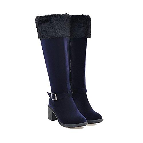 AllhqFashion Womens Zipper Round Closed Toe Kitten-Heels Imitated Suede High-top Boots Blue IIKeRY5tmj