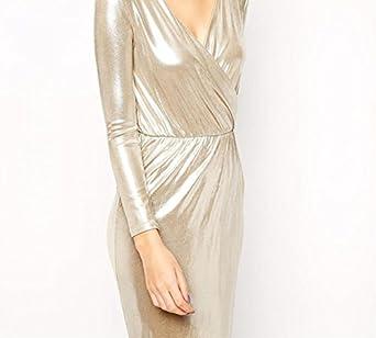 Lingswallow Womens Elegant Flare Golden Long Sleeve V Neck Slim Shift Dress