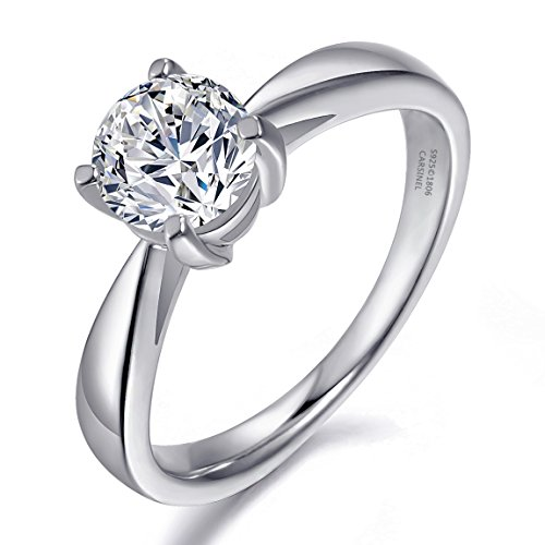 CARSINEL Luxury 1ct Cubic Zirconia 925 Sterling Silver Solitaire Engagement Wedding Ring for Women Sizes 4 to 9 (925 Sterling Silver Solitaire)
