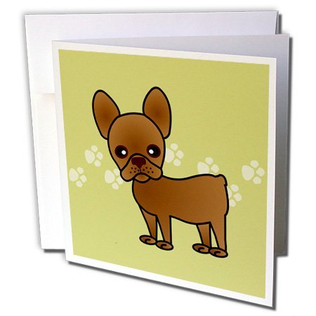 Cute Chocolate Brown French Bulldog Green with Pawprints - Greeting Cards, 6 x 6 inches, set of 6 ()