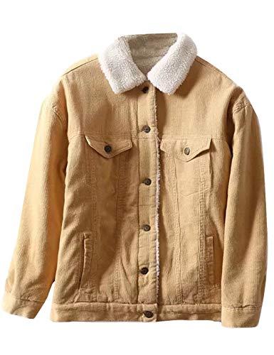 Gihuo Women's Vintage Corduroy Sherpa Fleece Lined Jacket Warm Thick Jacket (Yellow, Large)