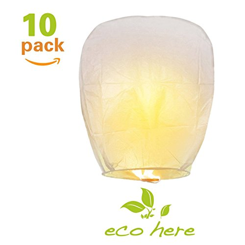 Sky Lanterns with Wax Block, Eco Friendly Biodegradable, White Lantern for Wedding, Christmas, Memorial, Party, Wishing Lanterns (10 Chinese Paper Lanterns)