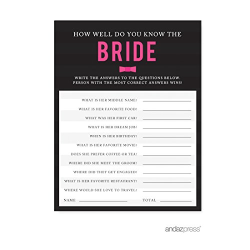 Andaz Press Modern Black and White Stripes Wedding Collection, How Well Do You Know the Bride? Bridal Shower Game Cards, ()