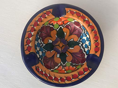 Ashtray Signed - Talavera Ceramic Ashtray 4'' Modern Art Design Authentic Puebla Mexico Pottery Hand Painted Design Vivid Colorful Art Decor Signed [Burgundy Leaves]
