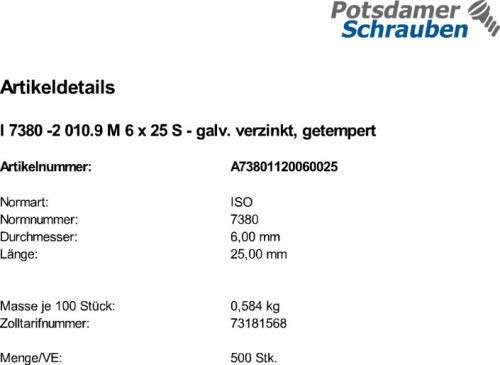 500 Inbus Linsenflanschschrauben ISO 7380-2 10.9 verzinkt M6x25