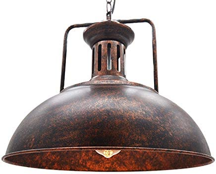 Huahan Haituo Vintage Metal Industrial Chandelier, Industrial Retro Pendant Light Wide Ceiling Lighting Chandelier 1-Light with Chain 40cm,Rust