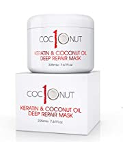 Hair Mask with Coconut Oil and Keratin Protein - Hydrating Deep Conditioning Treatment Mask- Intensive Moisturising Repair for Dry, Damaged Hair, Split Ends, Curls and Colour-Treated Hair - 225ml