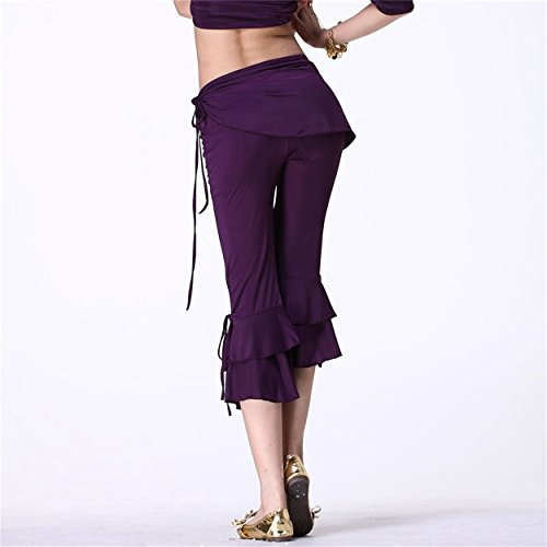 Mujeres Danza del vientre Hip Scarf Pant Dancewear Dance Clothes Cropped Trousers Side Slit Dark Purple
