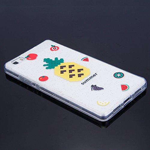 Funda Huawei P8 lite,SainCat Moda Alta Calidad suave de TPU Silicona Suave Funda Carcasa Parachoques Diseño pintado Patrón para Funda TPU Silicona Flexible Ultra Delgado Ligero Goma Case Cover Caja Su Piña