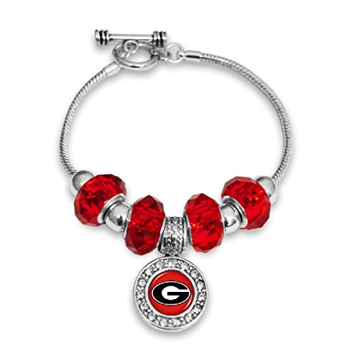 FTH Silver Tone Toggle Bracelet with Georgia Bulldogs Logo Charm, Crystals and -