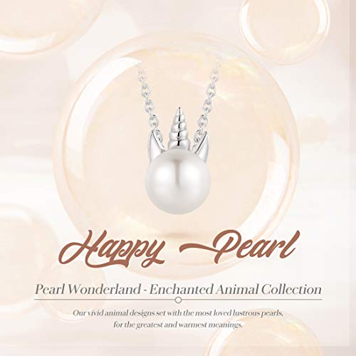 FANCIME Sterling Silver 7mm Freshwater Pearl Necklace Animal Collection Cute Small Single Pearl Pendant Necklace Fine Jewelry for Women Girls 16 2 Extender