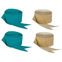 Dark Metallic Gold and Teal Blue-Green Crepe Paper Streamers (2 Rolls Each Color) MADE IN USA!