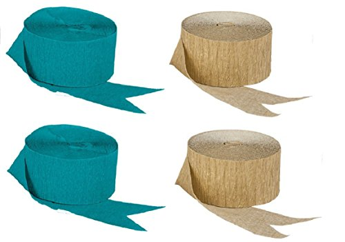 Dark Metallic Gold and Teal Blue-Green Crepe Paper Streamers (2 Rolls Each Color) MADE IN ()