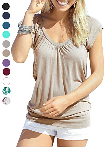 Jusfitsu Womens Banded Bottom Tops V Neck Flutter Sleeve Cozy Tunic Blouses Yoga Shirt Brown ()