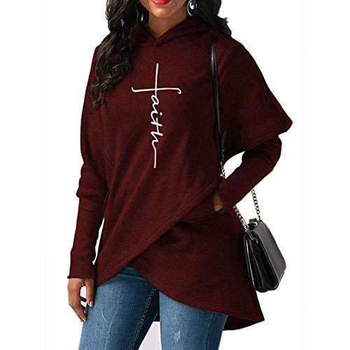 wlsomegoo Women Faith Letter Printed Hoodie Pullover Long Sleeve Sweatshirt Pocket