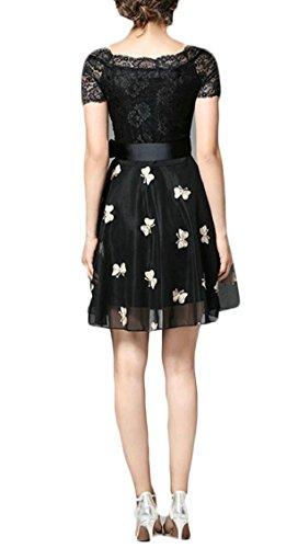 Mini Patchwork Lace Jaycargogo Dress Sleeve A Printed Black Mesh line Short Women's qzwBWaxwT7