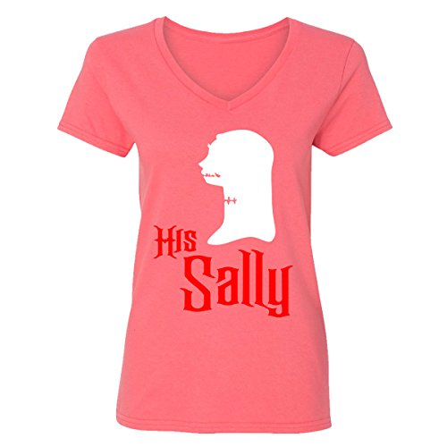 Falcon's Shop Most Popular Halloween Costume His Sally Design V-Neck T-Shirts for Women(Coral Silk,Large)