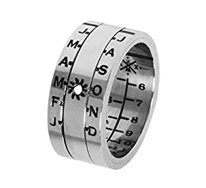 Sundial Ring Silver Finish Size 10