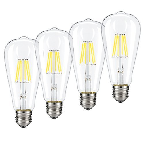 6 Light 60w Pendant (Dimmable Edison LED Bulb, Kohree 6W Vintage LED Filament Light Bulb, 4000K Daylight, 60W Incandescent Equivalent, E26 Base Lamp for Restaurant,Home,Reading Room,Office, Pack of 4)