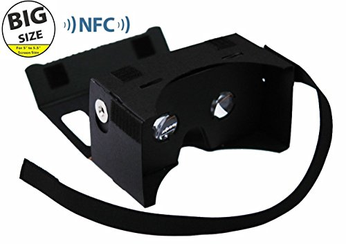 Virtual Reality Glasses LARGER VERSION - Google Cardboard Focal Length Virtual Reality Google Cardboard - For Samsung Galaxy Note 2/Note 3, Iphone 6/7/8 Plus (WITH NFC and FREE HEAD-STRAP) - Toronto Glasses 3d