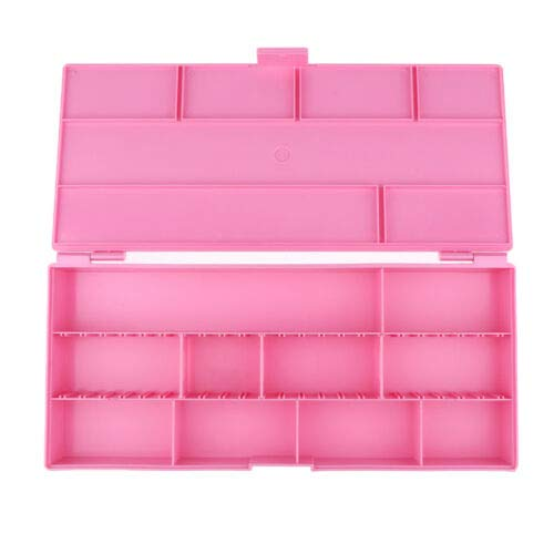 10 Compartments Salon Hairpins Hair Rope Storage Case Movable Divider Box (Color - Rose Red)