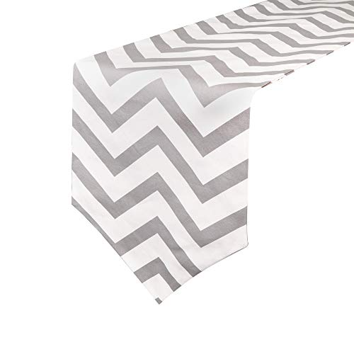 Uphome 1pc Classical Chevron Zig Zag Pattern Table Runner - Cotton Canvas Fabric Table Top Decoration, Grey and White by Uphome