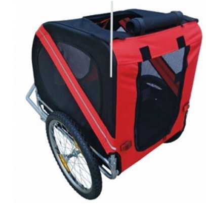 SKB Family Dog Bike Trailer Red fully closeable safety on long trips compartment UV-resistant covering foldable