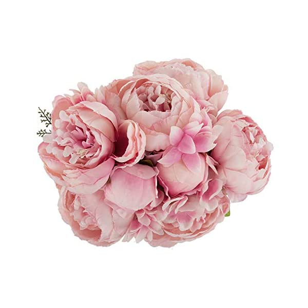 Ezflowery 1 Pack Artificial Peony Silk Flowers Arrangement Bouquet for Wedding Centerpiece Room Party Home Decoration, Elegant Vintage, Perfect for Spring, Summer and Occasions (1, Soft Pink)
