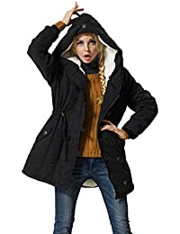 Women's Winter Warm Coat Hoodie Parkas Overcoat Fleece Outwear Jacket with Drawstring