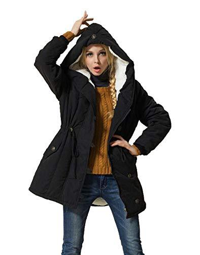 Eleter Women's Winter Warm Coat Hoodie Parkas Overcoat Fleece Outwear Jacket with Drawstring (3X-Large, Black) from Eleter