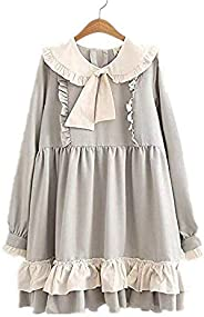Packitcute Sweet Lolita Dresses Japanese Style Long Sleeve Casual Pleated Dresses for Girls Teens