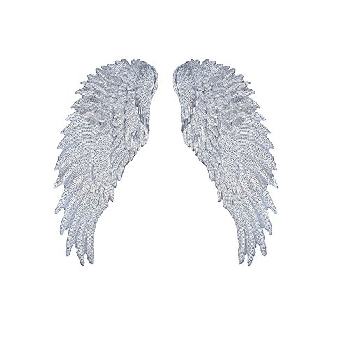 Los Angeles Angels Uniforms (Toonol Sequins Patch DIY Angel Wings Patches For Kids Clothes Sew-on Embroidered Patch Motif Applique Sticker For Cloth 1Pair,Color)