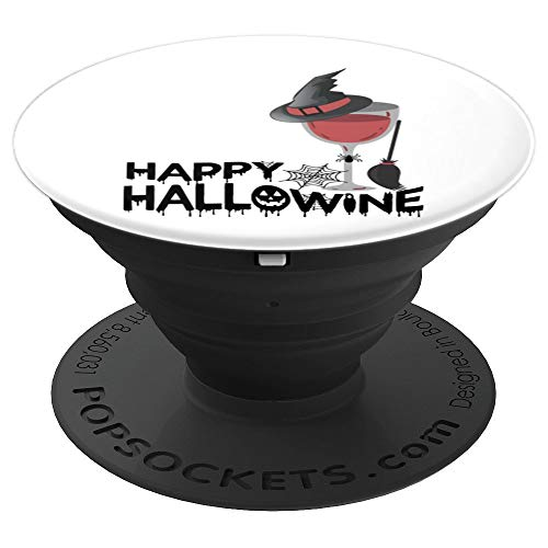 Happy Hallowine Funny Halloween Wine Drinking Costume Gift PopSockets Grip and Stand for Phones and Tablets