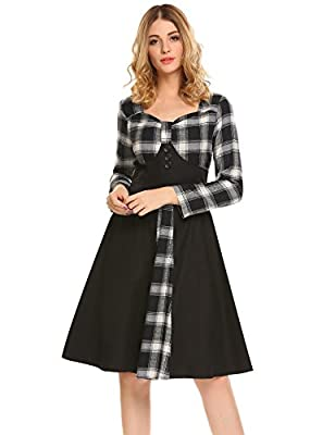 ACEVOG Women Vintage Plaid Long Sleeve Pleated Party Swing Dress