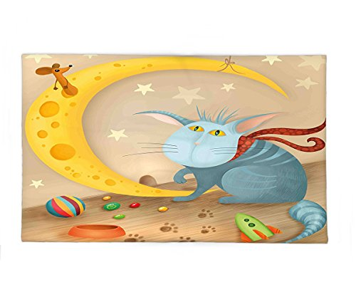 Interestlee Fleece Throw Blanket Kids Cat and Mouse on Crescent Moon Shaped Cheese Cute Paws Toys Kids Children Cartoon Multicolor