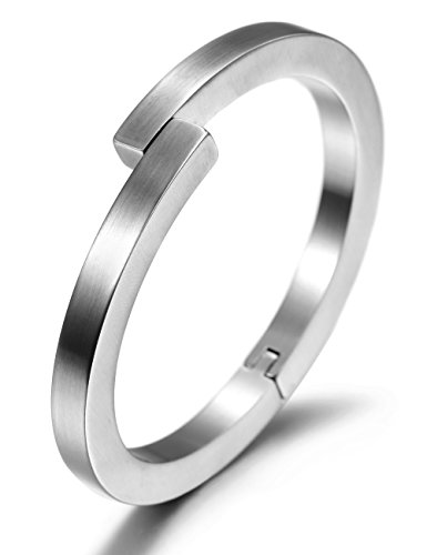 Women/ Men Stainless Steel Open Cuff Bangle Bracelet with Magnetic Clasp (White)
