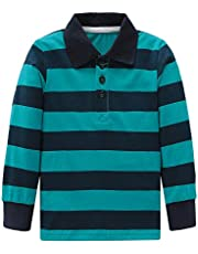 Moon Tree Boys Rainbow Striped Shirt Cotton Long Sleeve T-Shirts T-Shirts