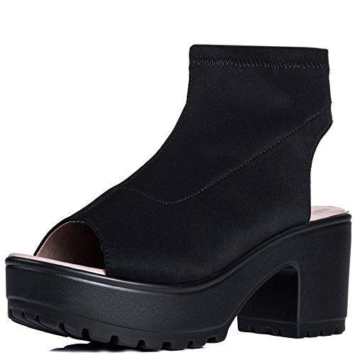 Spylovebuy FIERCA Femmes Bout Ouvert à Talon Bloc Bottines Chaussures Noir - Stretch PjG9RmgEF