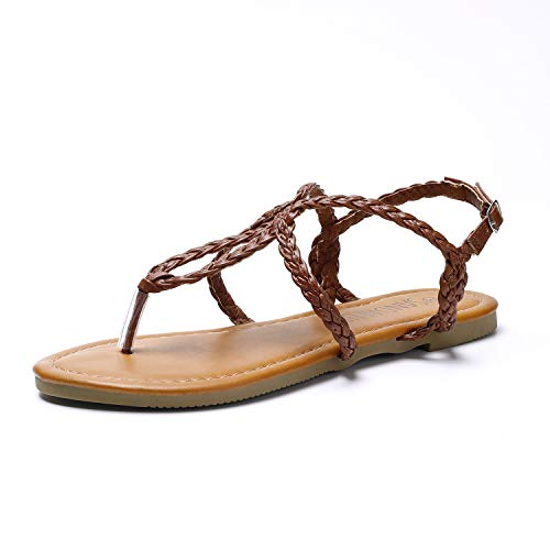 SANDALUP Women's Braided Strap Thong Flat Sandals Brown 07