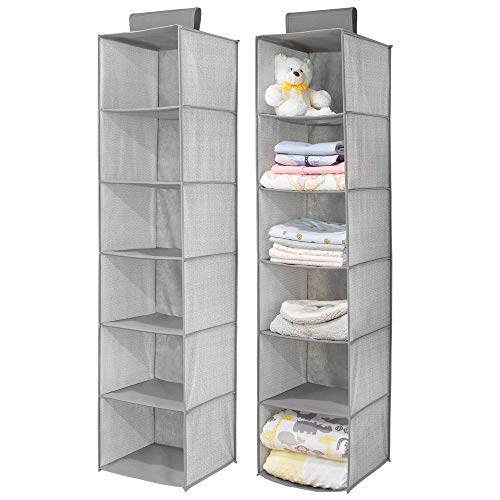mDesign Long Soft Fabric Over Closet Rod Hanging Storage Organizer with 6 Shelves for Child/Kids Room or Nursery - Herringbone Print, 2 Pack - Gray