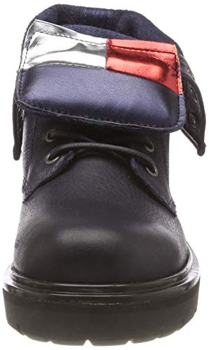 Black 990 Jeans up Black Boots Tommy Big Lace Flag Combat Women's pAq78