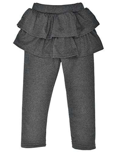 Girls Winter Footless Tutu Legging with Ruffled Skirt Culottes,D.Grey,4T