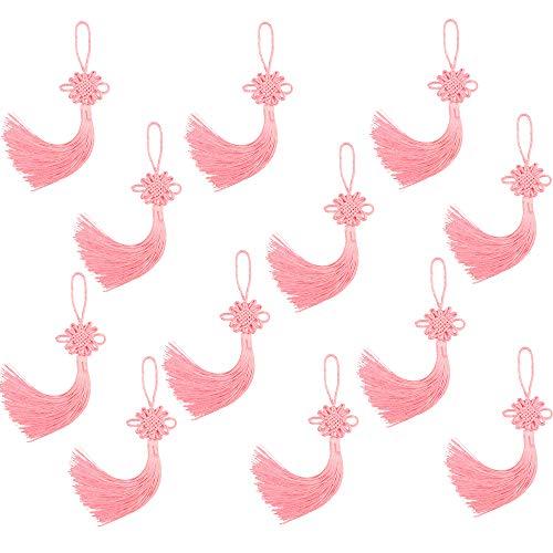 12 pcs Chinese Knot Handmade Silky Souvenir Tassels (8.2'') Tassels with Satin Silk Made Chinese Knots (Pink) ()
