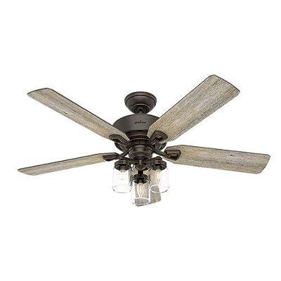 "Hunter 54201 Devon Park 52"" Ceiling Fan with LED Light & Remote, Onyx Bengal"