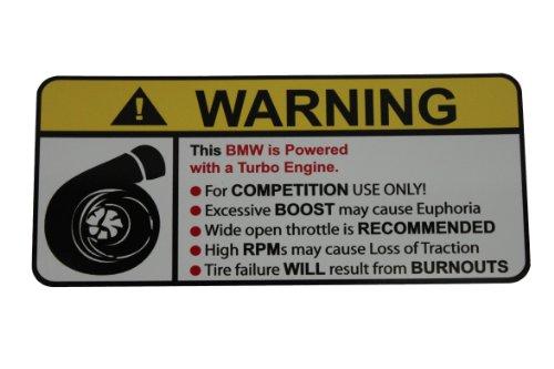 BMW Turbocharger Type II Warning sticker decal