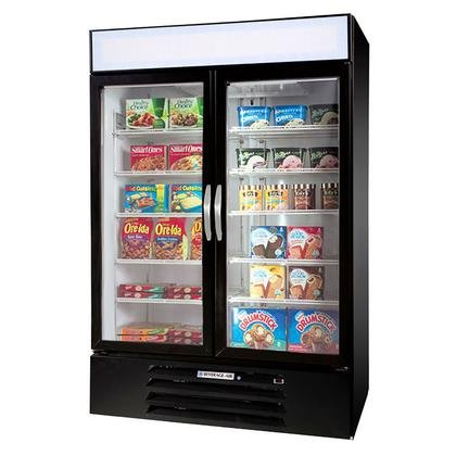 Beverage-Air MMF44-1-B-EL MarketMax 47'' Two Section Glass Door Reach-In Merchandiser Freezer with LED Lighting 45 cu.ft. Capacity Black Exterior Electronic Lock and Bottom Mounted