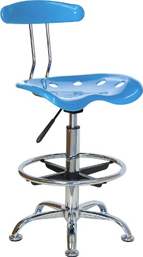 Flash Furniture Vibrant Bright Blue and Chrome Drafting Stool with Tractor Seat